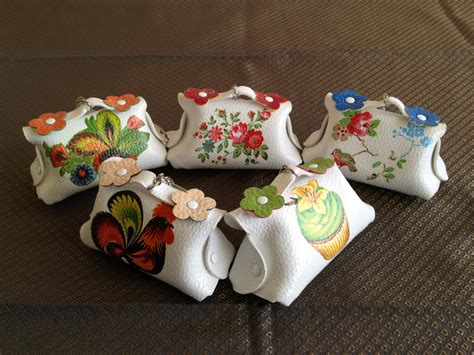 Decoupage Thailand - mini flower coin purse id holder key chain decoupage