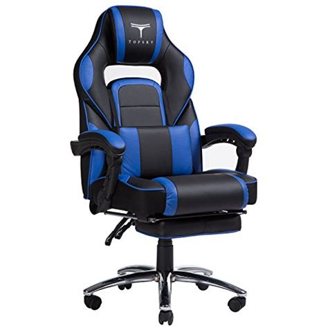 office chair with headrest and footrest topsky high back racing style pu leather computer gaming