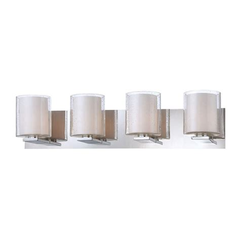 Glass Vanity Light Combo 4 Light Chrome Vanity Light With Clear Stromboli Outer Glass With White Opal Inner Glass