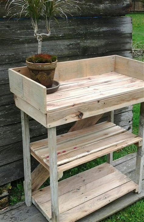 wood pallet potting bench diy potting bench made with pallets 101 pallets
