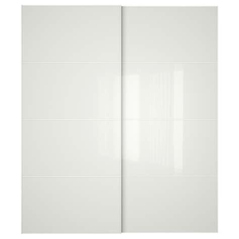 White Glass Doors F 196 Rvik Pair Of Sliding Doors White Glass 200x236 Cm Ikea