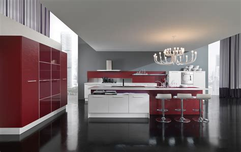 New Modern Kitchen Design With Red And White Cabinets New Modern Kitchen Design