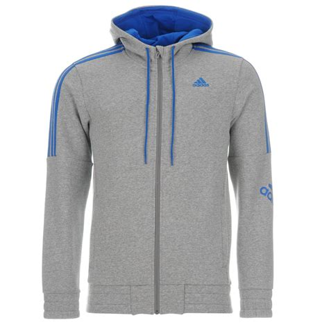 adidas mens three stripe logo hoody zip hoodie sleeve