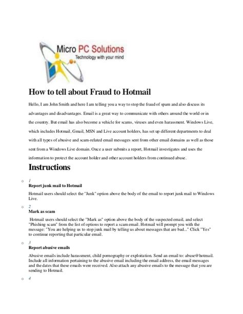 How To Report Spam Email To by How To Report Fraud To Hotmail