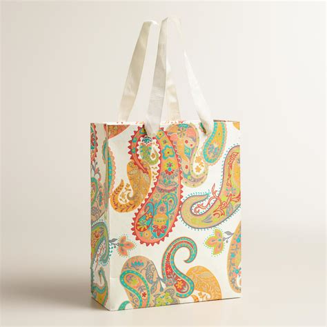 Handmade Goodie Bags - large paisley handmade gift bags set of 2 world market