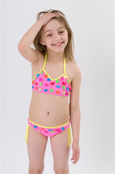 swimwear two piece for kid lovely heart embed girl tankini two piece swimwear dealsel