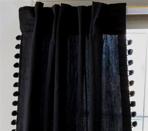 ball fringe curtains back in black curtain with black pom pom ball fringe