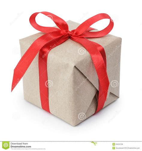 small gifts small gift box wraped in recycled paper with ribbon bow