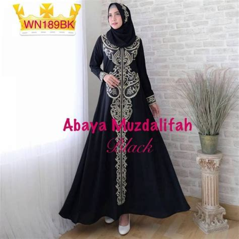 Gamis Abaya Maxi Syari Bordir Cocok Untuk Formal Casual gamis pesta bordir abaya musdalifah baju muslim modern