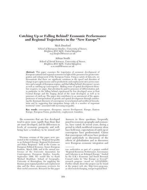 (PDF) Catching Up or Falling Behind? Economic Performance