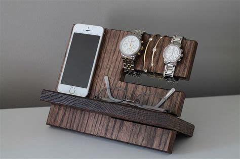 Bedroom Mens Valet Stand Oak Wood Valet Iphone Galaxy Charging Stand