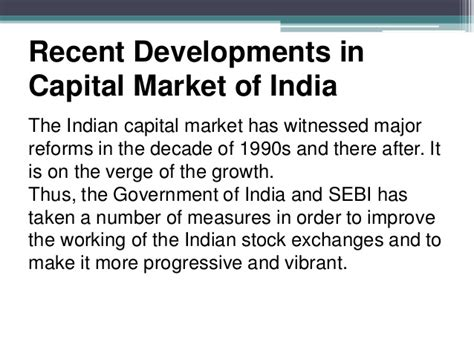 Mba In Capital Markets India by Capital Market Reforms