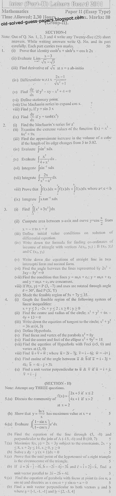 Subjective Essay by Bise Lahore Mathematics 2011 Essay Subjective Ii Past Paper