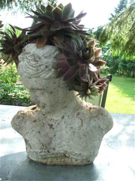 head planter pots for sale love these head planters so elegant make different hair pieces with succulents and sedums