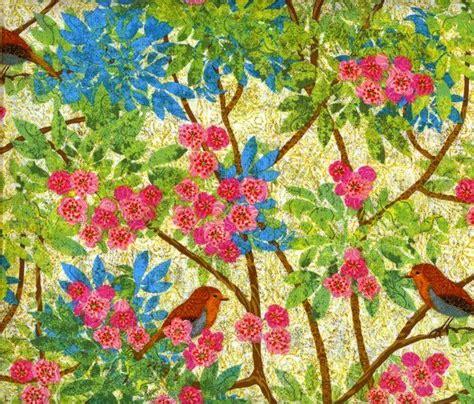Bird Quilting Fabric by Cotton Quilt Fabric Prism Garden Bird Branches Flowers