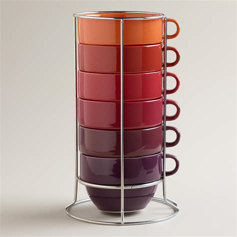 jumbo warm ombre stacking mugs set of 6 world market