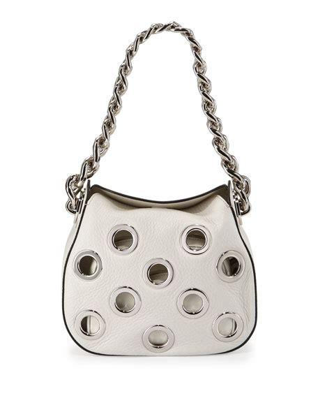 Prada Vitello Daino Mini Hobo Purse by Prada Vitello Daino Small Perforated Chain Hobo Bag White