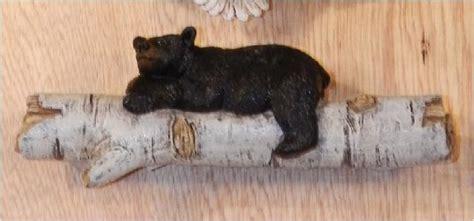 black bear on birch log drawer handle pull home cabin 5 inch black bear on birch wood branch pull handle