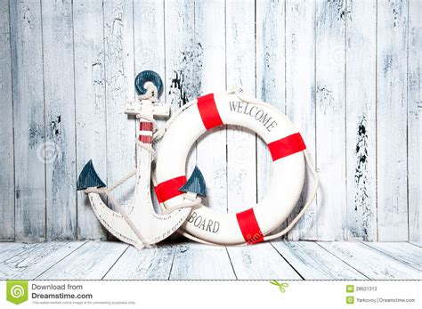 anker thailand anchor and life buoy on a background of white wall stock