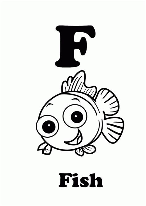 F Fish Coloring Page by F Is For Coloring Page Coloring Home