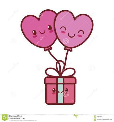 imagenes kawaii love kawaii love heart balloon gift box valentine stock
