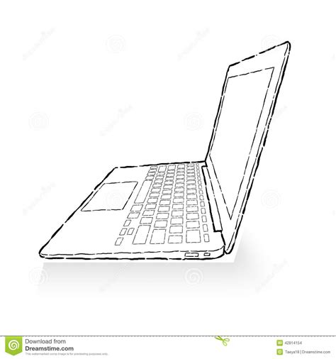 Drawing Laptop by Laptop Drawing Stock Illustration Image 42814154