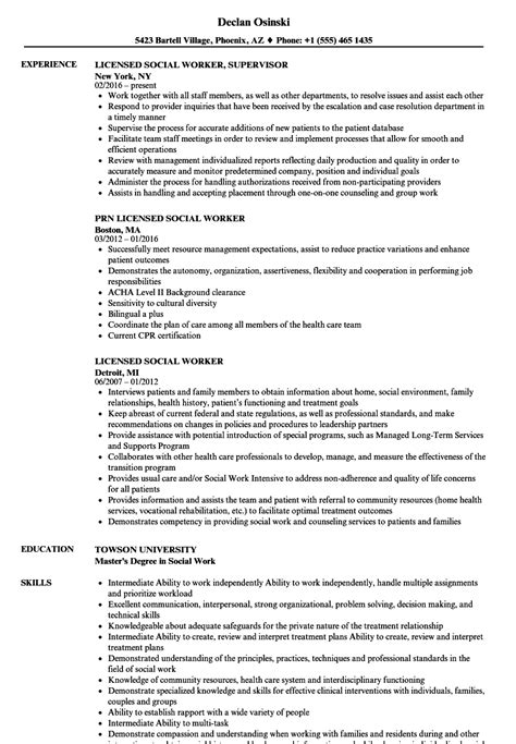sle of licensed social worker resume licensed social worker resume sles velvet