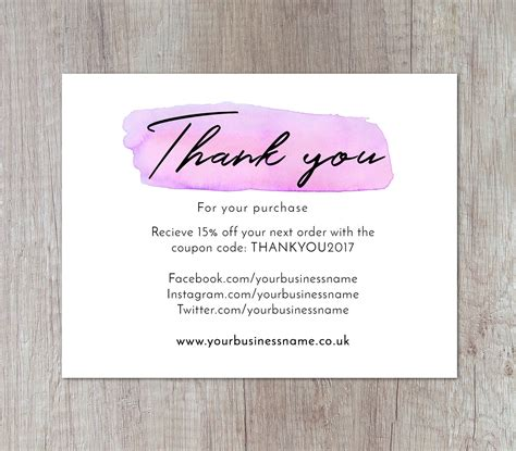 thank you for your purchase card template thank your for your purchase card thank you for your