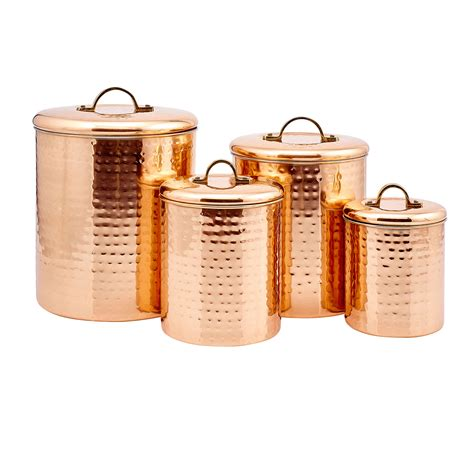 copper kitchen canisters copper hammered canister set of four
