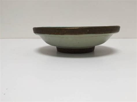 Handcrafted Ceramic Bowls - moroccan handcrafted ceramic bowl with brass from fez for