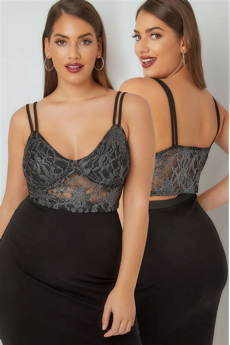 The Limited Gift Card Refund - limited collection black metallic floral lace bralette plus size 16 to 36