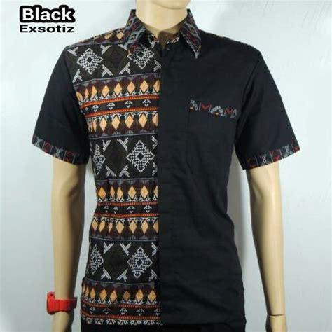 Jual Baju Kemeja Pria Kemeja Batik Songket Lengen Panjang Black jual kemeja batik pria baju batik kombinasi songket