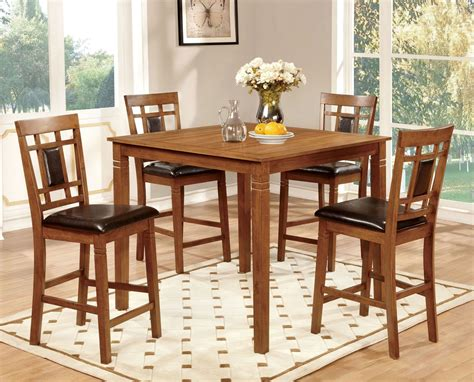 oak counter height table freeman ii light oak 5 counter height table set from