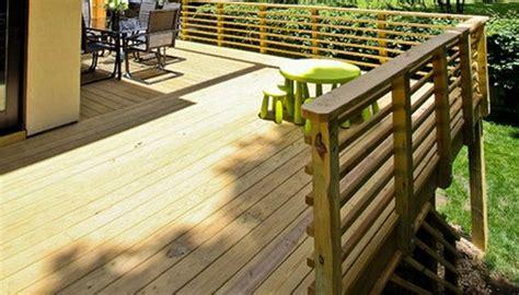 horizontal wood  handrail design deck railing