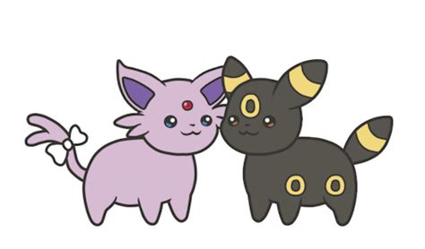umbreon and espeon snuggles by eevee chibi