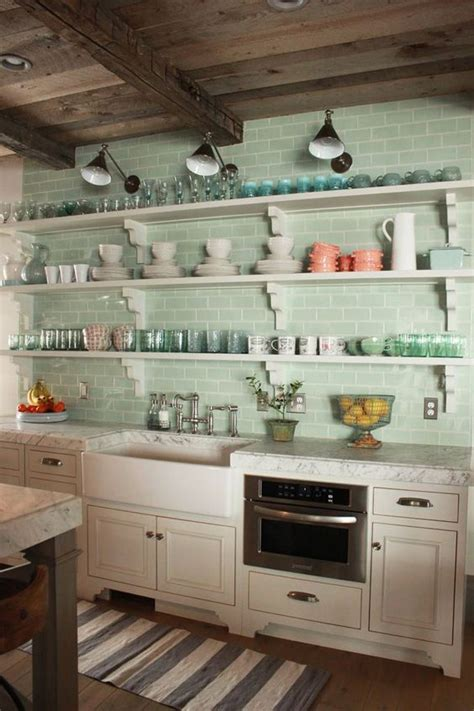 kitchens with shelves green 35 ways to use subway tiles in the kitchen digsdigs