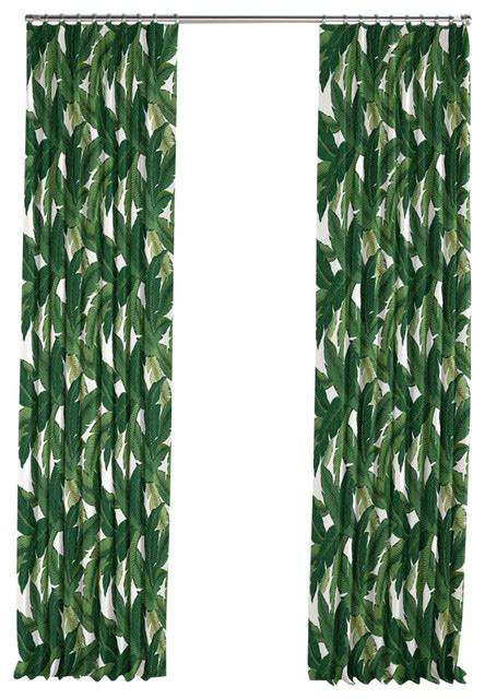 tropical kitchen curtains green banana leaf pleated curtain single panel tropical