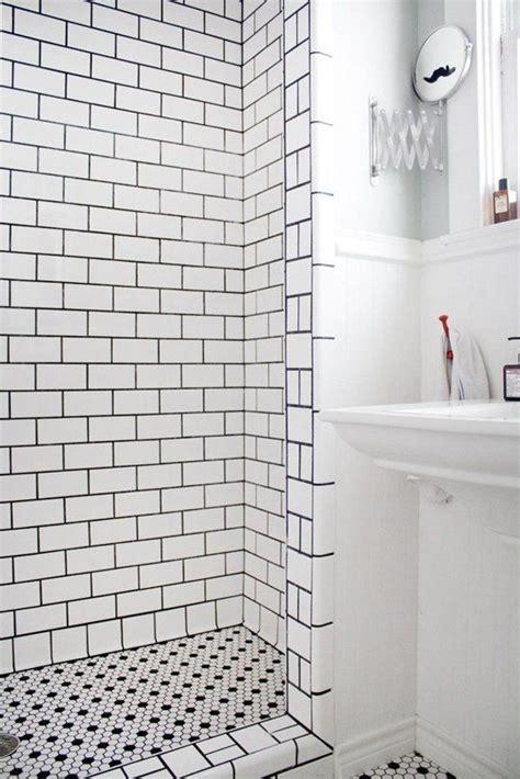 black  white shower tile ideas  pictures