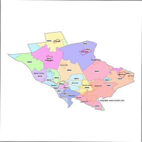 zip code map union county nj mercer county new jersey zip code map