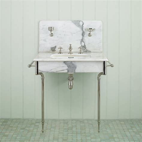 stand alone marble sink with chrome legs amp hardware