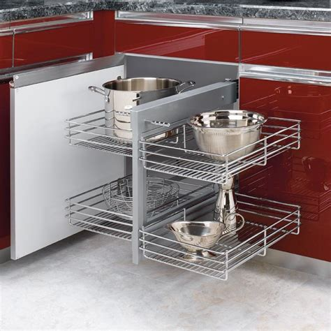 kitchen blind corner cabinet organizer blind corner optimizer for 15 quot opening chrome 5psp15