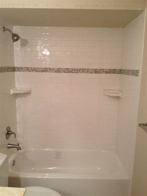 how to put down tile in bathroom subway tile tub shower remodel with 3x6 quot subway tiles