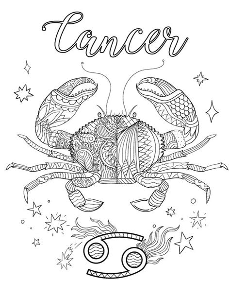 free printable zodiac coloring pages free printable zodiac adult coloring page featuring cancer