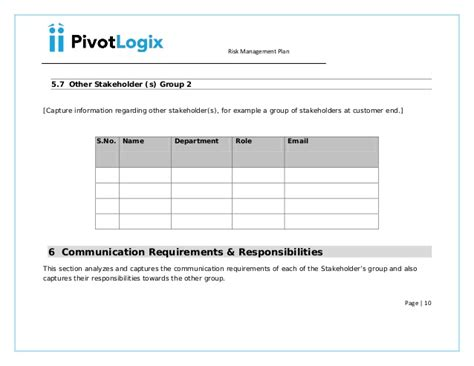 spa500s template pmbok risk management plan template 28 images project