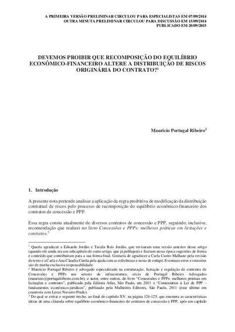 Equilíbrio econômico-financeiro e distribuição de riscos