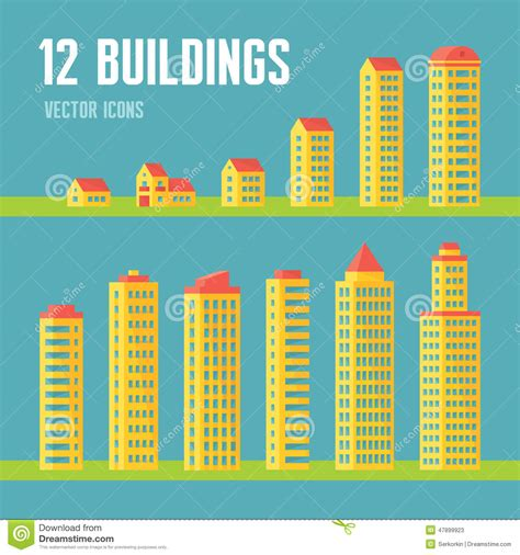 Cottage Building Plans 12 Building Vector Icons In Flat Design Style For