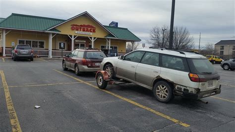 Subaru Outback Towing by An Outback Towing An Outback Stopped At Outback They