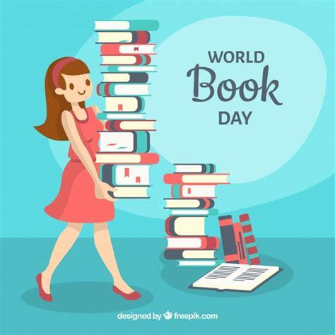libro world menace day fundo do dia do livro mundial com a mulher carregando livros baixar vetores gr 225 tis