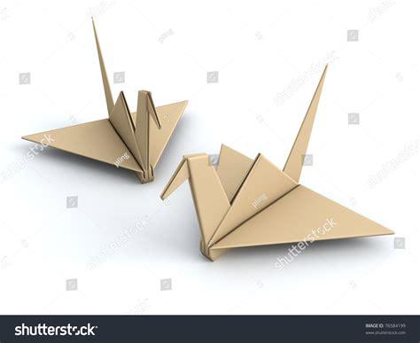 Origami Concept - peace concept origami crane paper bird 3d illustration