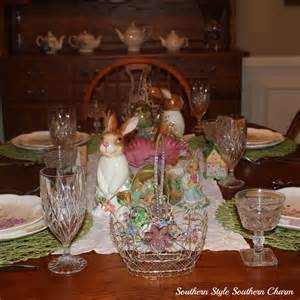 decorating the dining room table for easter